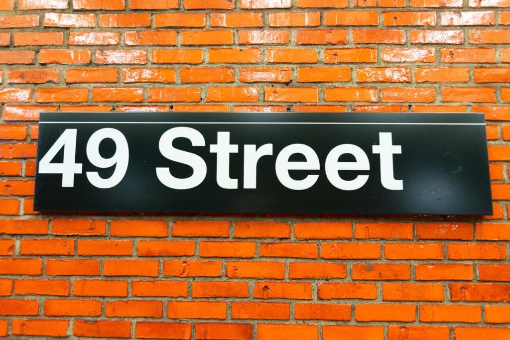 Fermata d49 street della metropolitana di New York